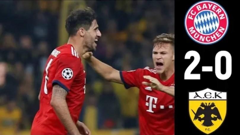Hasil AEK Athens Vs Bayern Munich skor 0-2