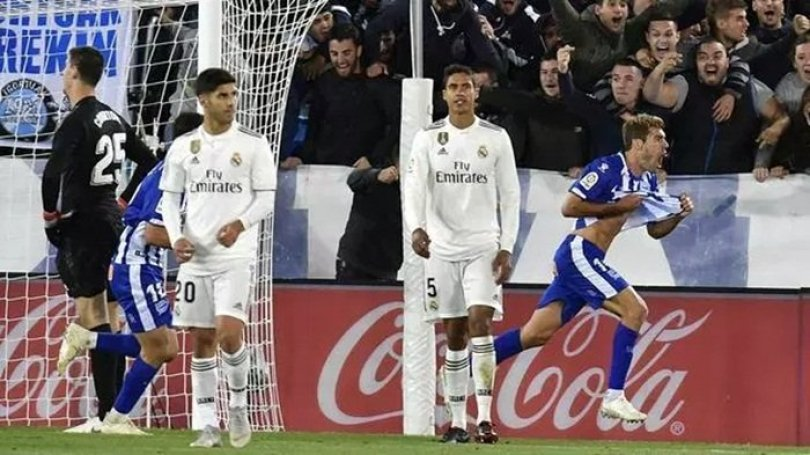 Manu Garcia mencetak gol di gawang Real Madrid
