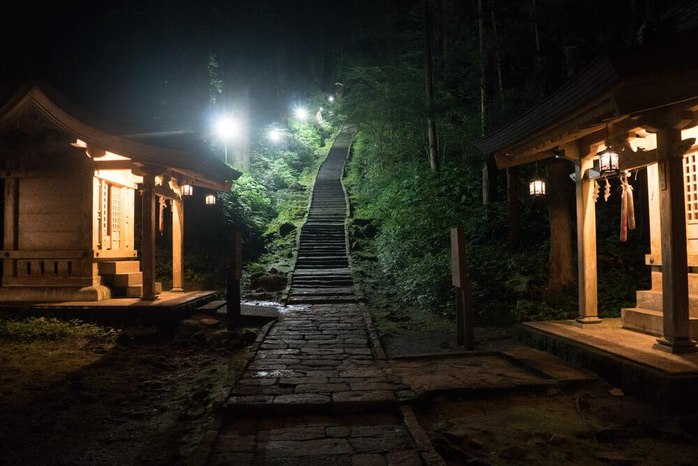 Steps to the Dewa Sanzan Mt. Haguro Five Story Pagoda Light Up at night