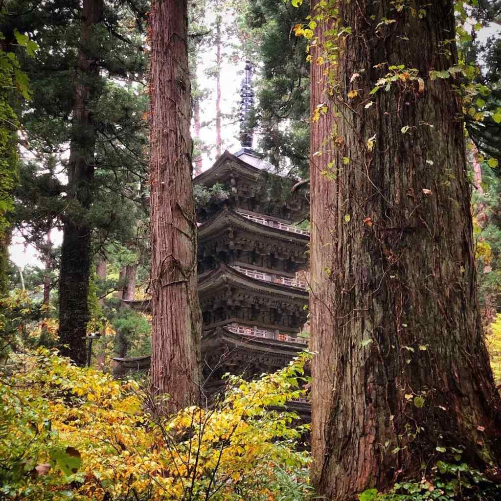 The Five Story Pagoda of Mt. Haguro of the Dewa Sanzan in the Autumn Leaves