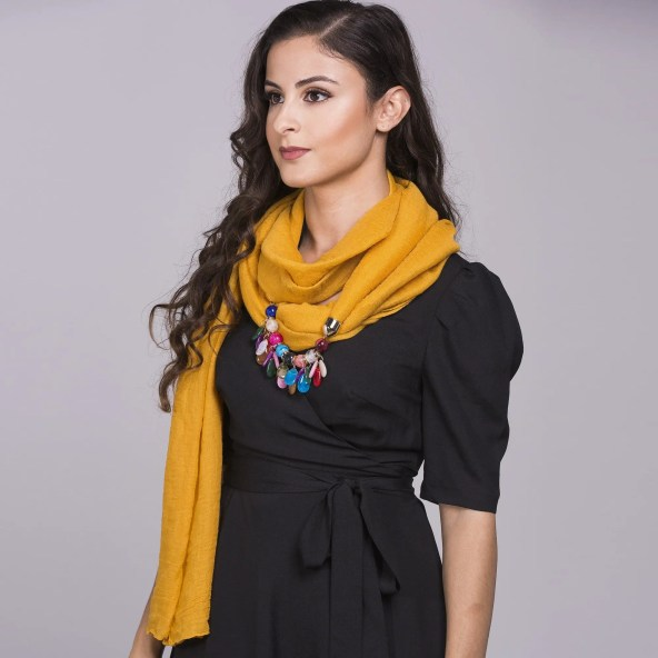 Infinity Scarf with Jewel Design in Premium Cotton - Yellow