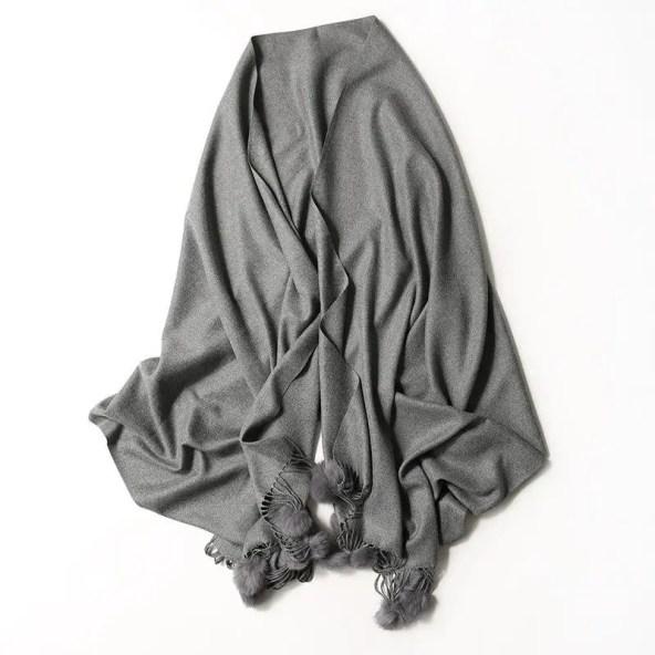 Lightweight Pom Pom Pashmina - Dark Grey