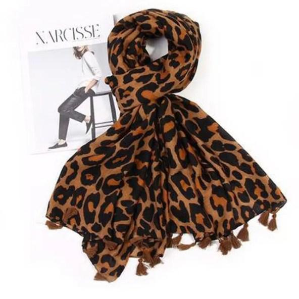 Ladies Leopard Print Scarf with Tassels