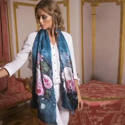 twill silk scarf teal
