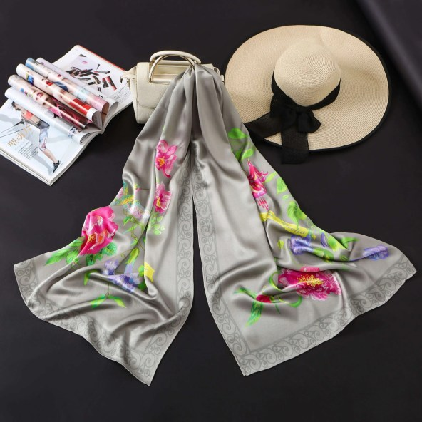 Long Silk Scarf - Amelia Nature Collection - Grey