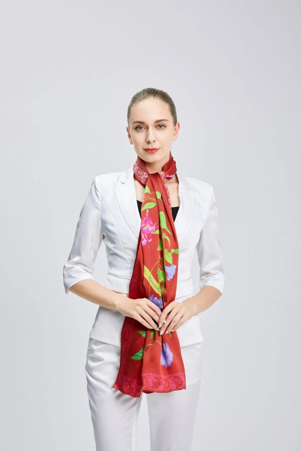 Long Silk Scarf - Amelia Nature Collection – Red