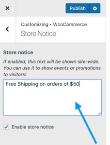Woocommerce customizer storenotice change