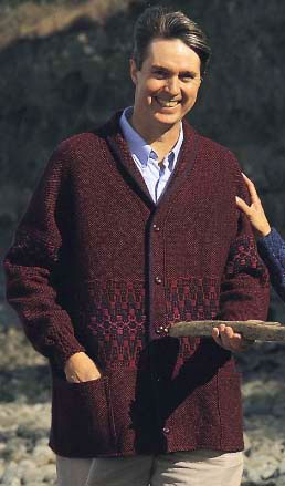 Men's Cardigan in Maroon