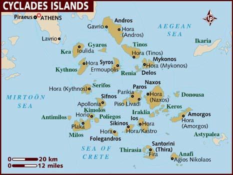 De Griekse Cycladen waaronder Santorini