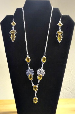 Necklace, costume, Yellow, silver w earrings11
