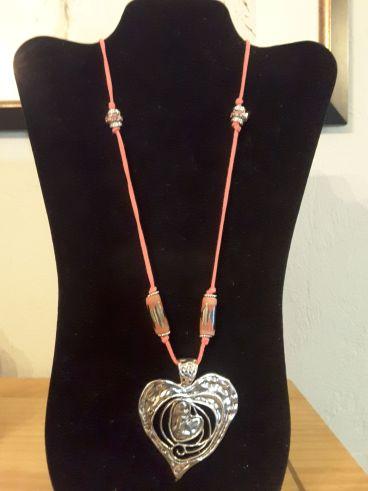 Necklace, pink valentine suede