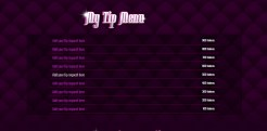 Custom MyFreeCams profile design Jaelyn - Tip Menu