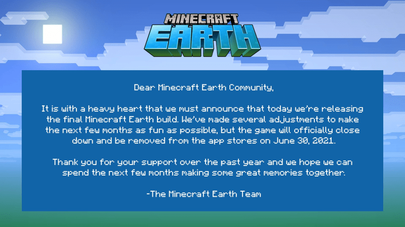Minecraft Earth Is Shutting Down Dex Exe