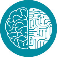 icon digital transformation. half of the brain connected to the set of pathes on microchip in a form of second half of the brain