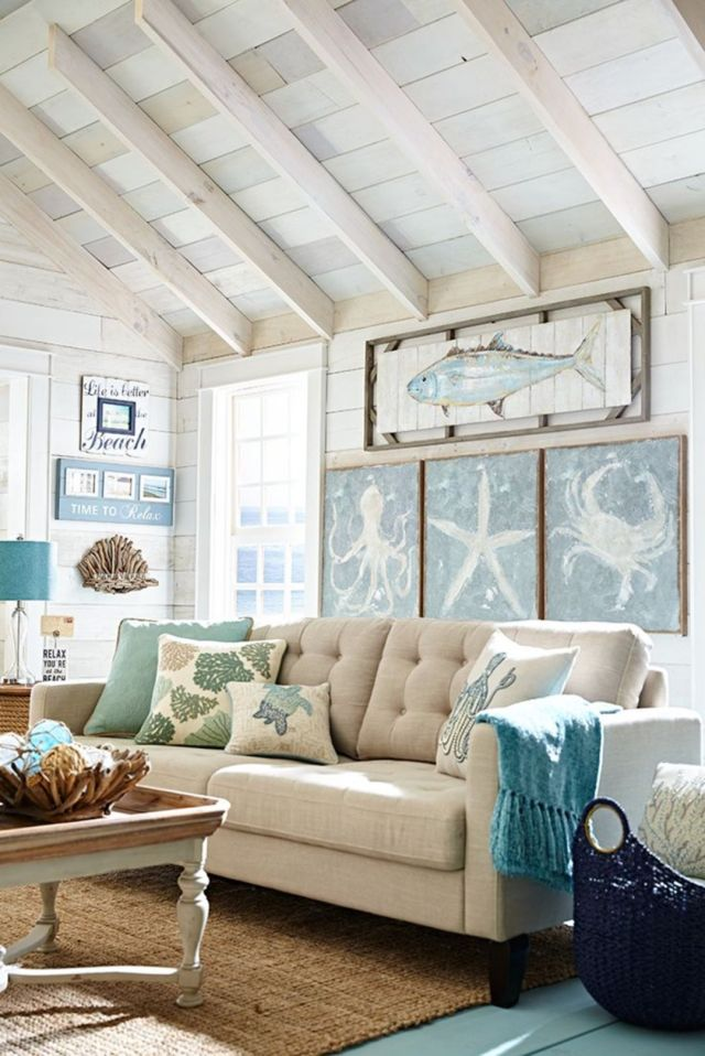 A Few Fabulous Cottage Decorating Ideas: 45 Fabulous Beach Themed Living Room For Guests Feel More