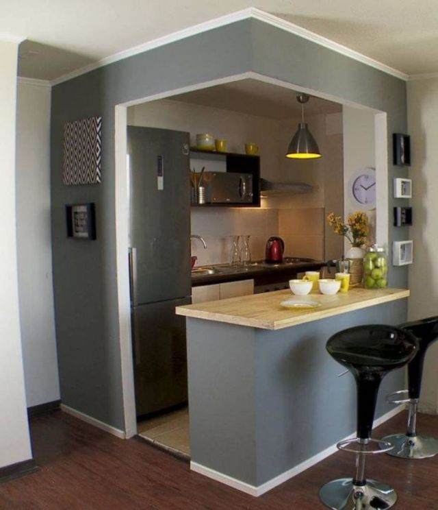 35 Outstanding Small Kitchen Studio Designs For Comfort