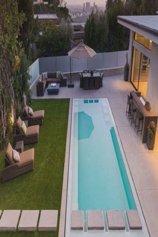 Long Minimalist Backyard Pool Design