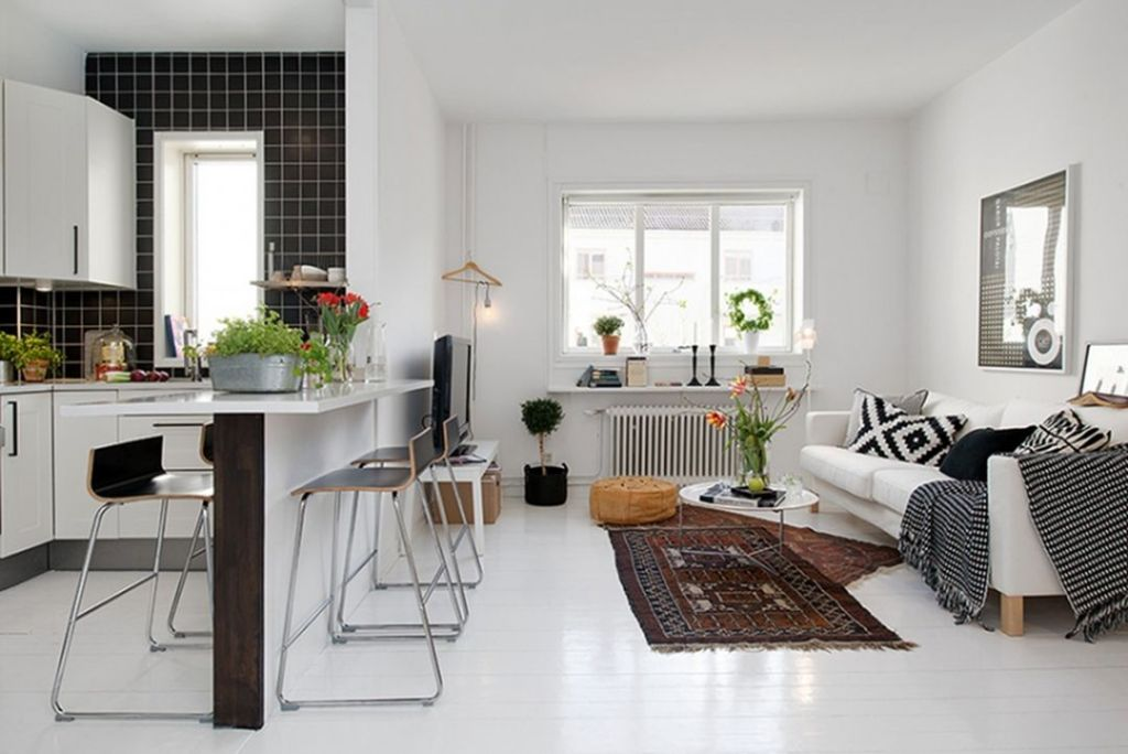 Scandinavian Style Kitchen with Living Room