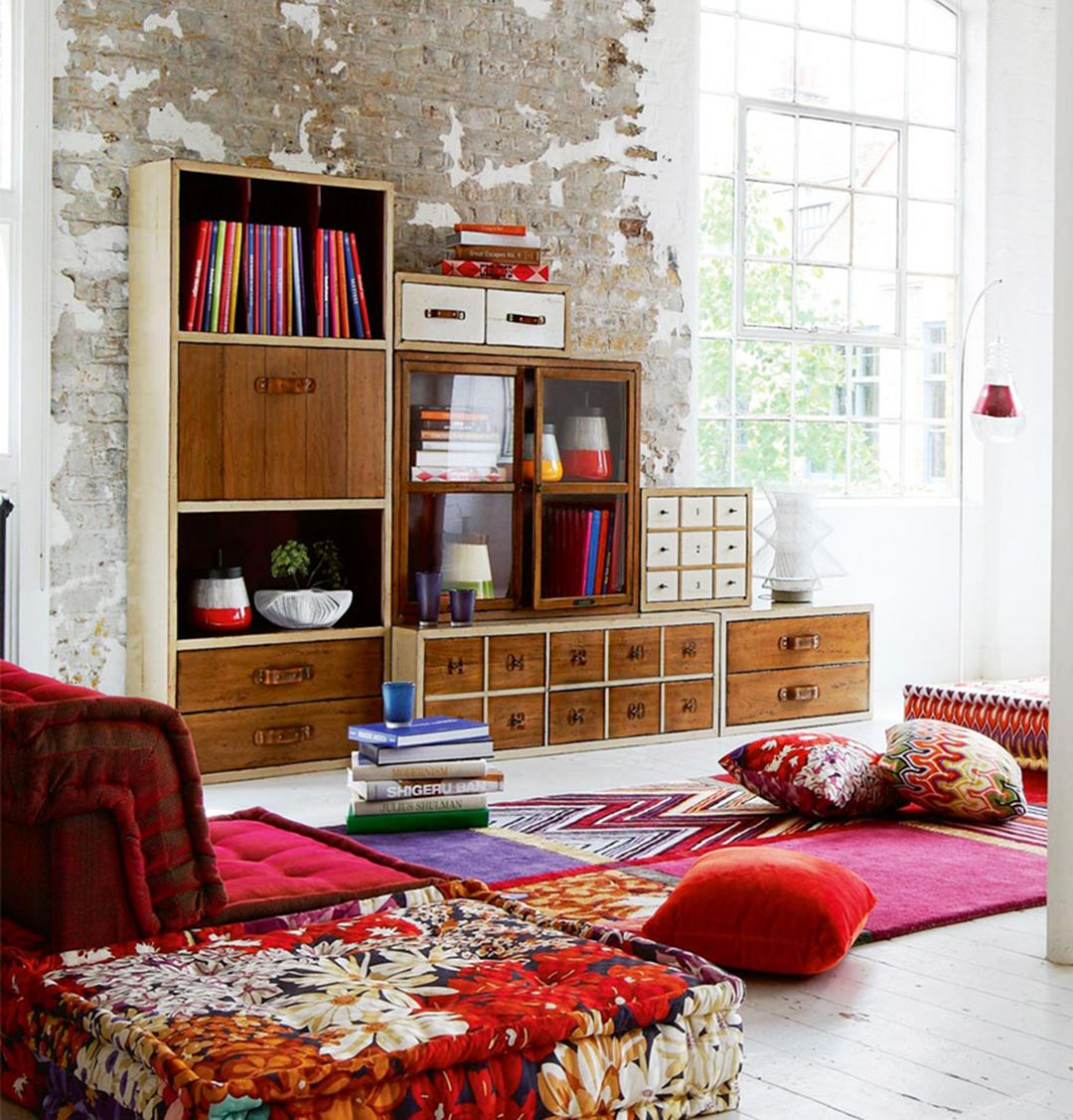 Boho Living Room Ideas With Cabinets And Shelves Source Hit Interiorscom