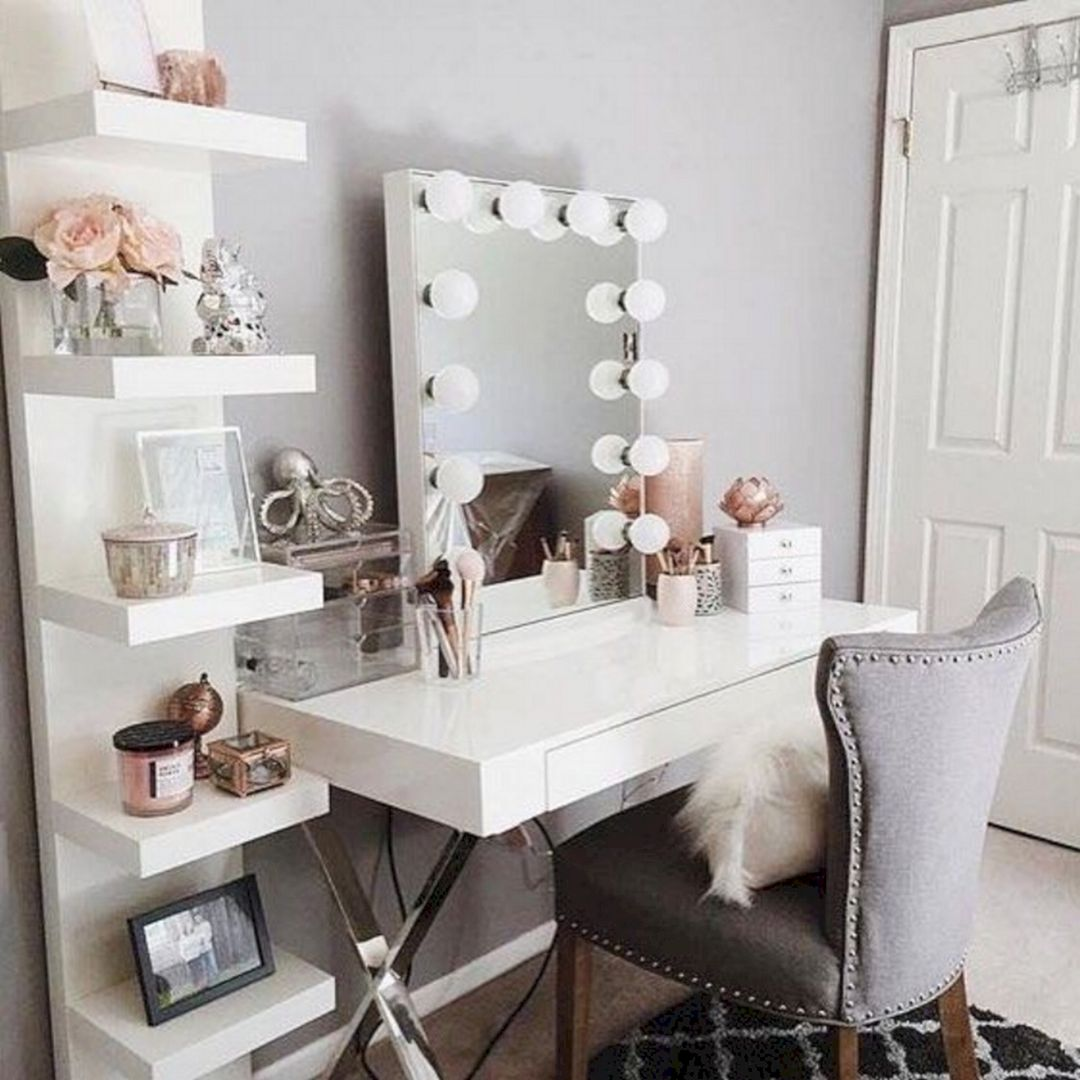 12+ Most Popular Makeup Vanity Table Ideas For Inspiration ... on Makeup Room Ideas  id=99627