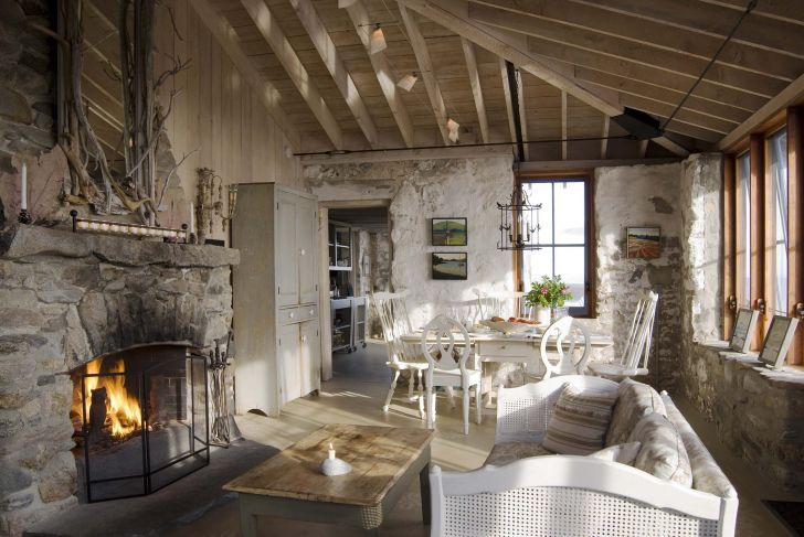 Rustic Home Interior With Fireplace