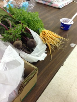 The baby carrots we donated set up at Faith in Action.