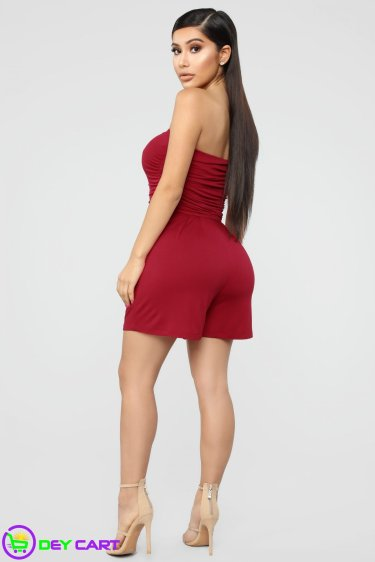 Ruched Romper - Red 1