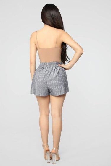Pull On Striped Shorts - Black & White 1