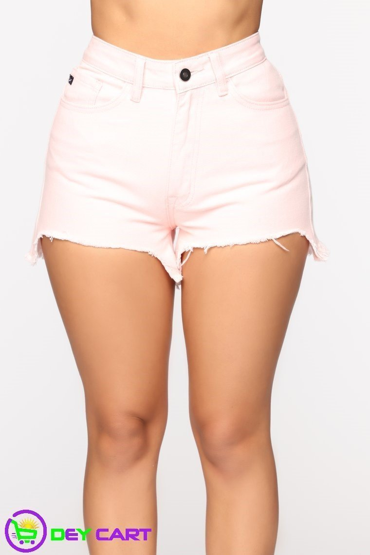 Distressed High Rise Shorts - Pink