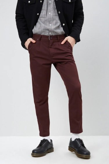 Forever21 Cropped Slim-Fit Chino Pants - Burgundy 0