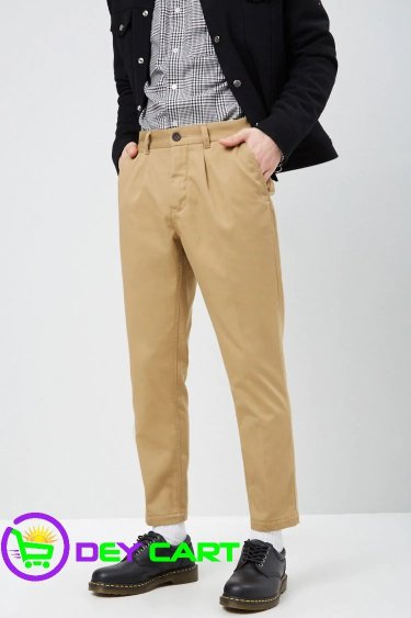 Forever21 Cropped Slim-Fit Chino Pants - Khaki 0