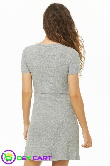Forever21 Heathered Fit & Flare Dress - Grey 1