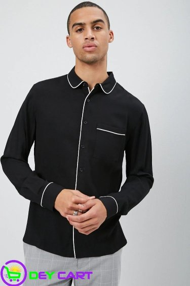 Forever21 Piped Fitted Shirt - Black & White 0