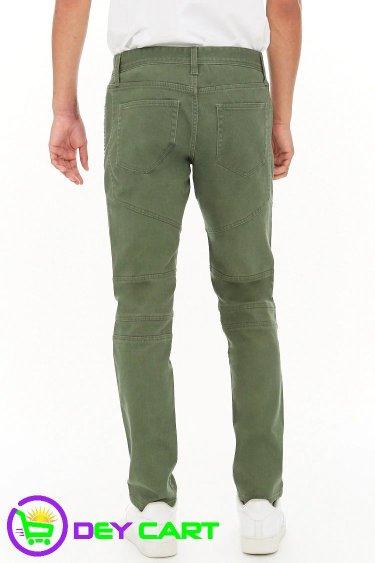 Forever21 Slim-Fit Biker Jeans - Olive 1