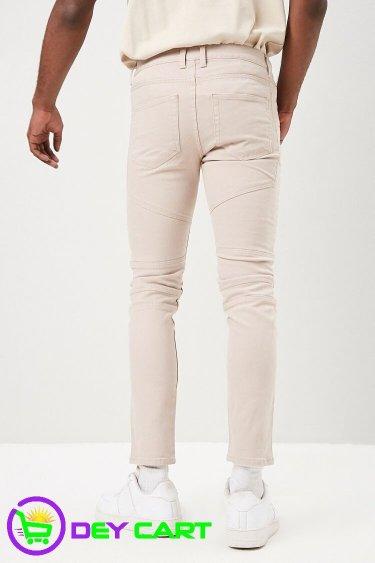 Forever21 Slim-Fit Biker Jeans - Taupe 1