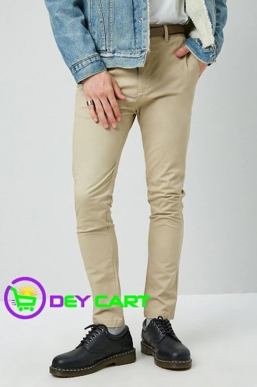 Forever21 Slim-Fit Chino Pants & Belt - Khaki 0