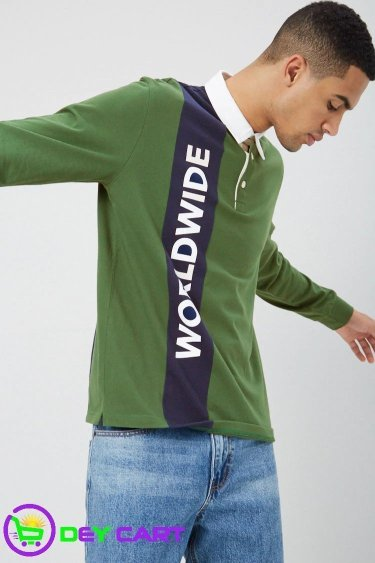 Forever21 Worldwide Color Block Polo - Green/Navy 0