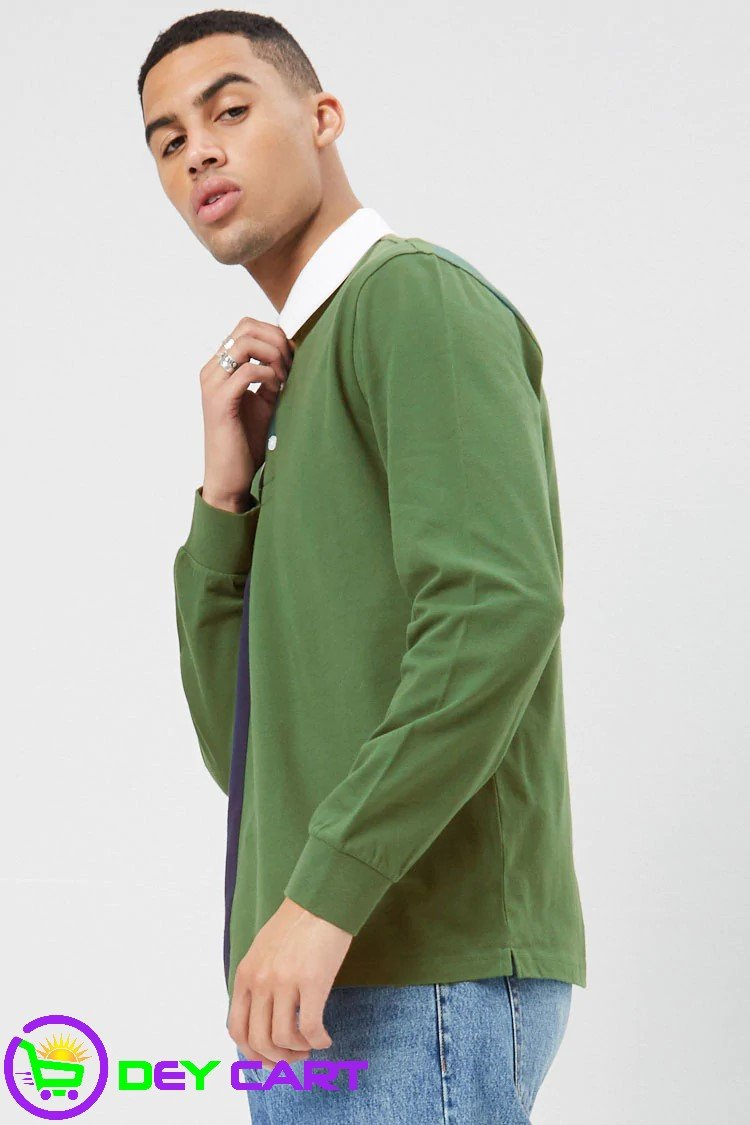 Forever21 Worldwide Color Block Polo - Green/Navy
