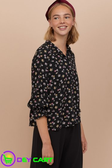 H&M Floral Shirt with Ruffles - Black 1