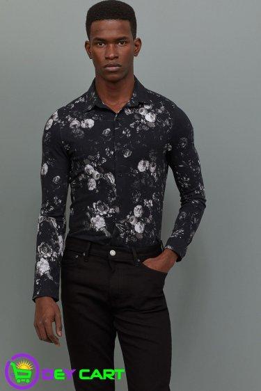 H&M Muscle Fit Piqué Flowers Shirt - Black 0
