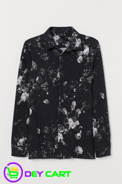 H&M Muscle Fit Piqué Flowers Shirt - Black