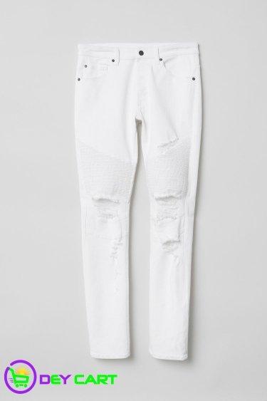 H&M Distressed Skinny Biker Jeans - White 0