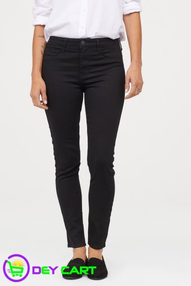 H&M Skinny Regular Ankle Jeans - Black Denim 0