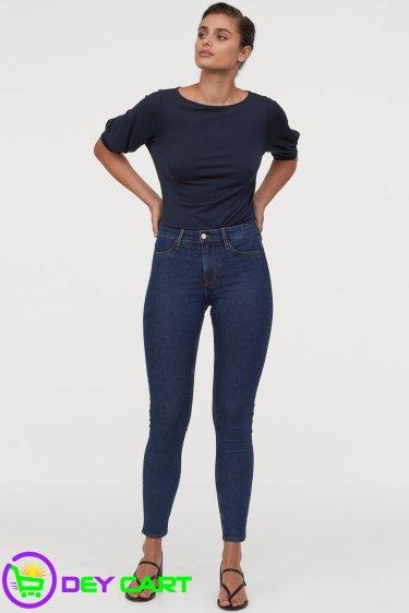 H&M Skinny Regular Ankle Jeans - Dark Blue Denim 1