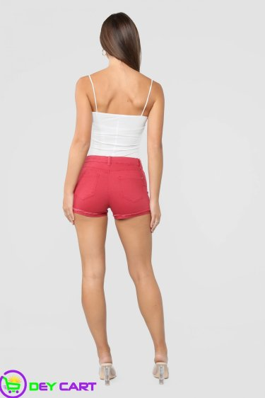 High Rise Denim Shorts - Red 1