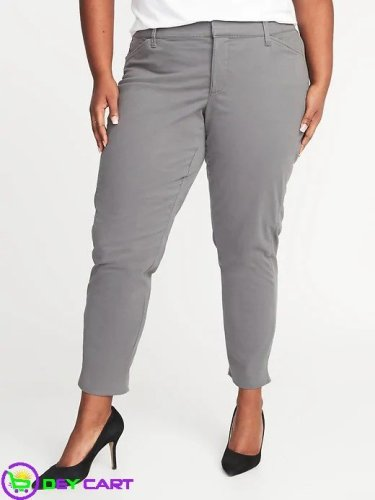 Old Navy Mid-Rise Plus-Size Pixie Chinos - Grey 0