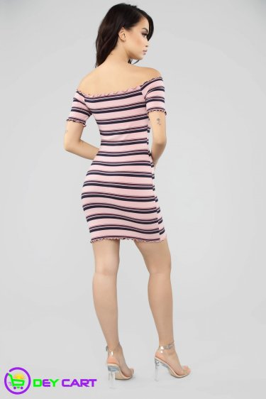 Off Shoulder Striped Ribbed Mini Dress - Mauve Combo 1