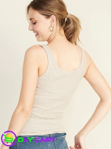 Old Navy Fitted Rib-Knit Tank - Heather Oatmeal 1