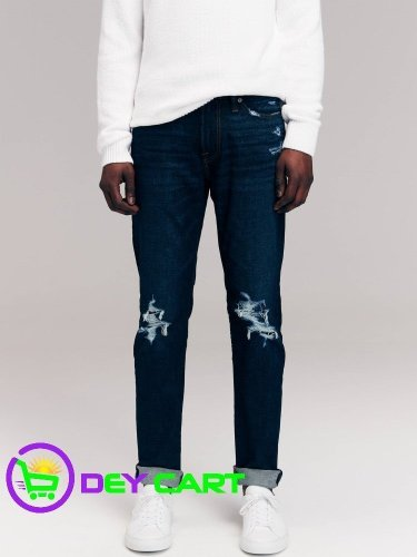 Abercrombie & Fitch Ripped Skinny Jeans - Dark Blue Wash 0