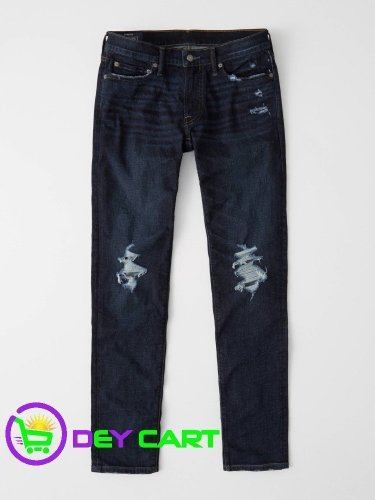 Abercrombie & Fitch Ripped Skinny Jeans - Dark Blue Wash